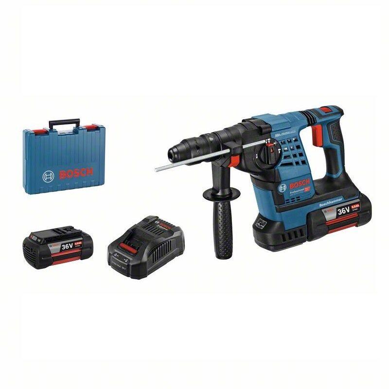 Bosch Perforateur sans fil SDS-plus GBH 36V-Li Plus + 2 batteries GBA 36V 4Ah + chargeur rapide + butée de profondeur 310mm + poignée supplémentaire + valise