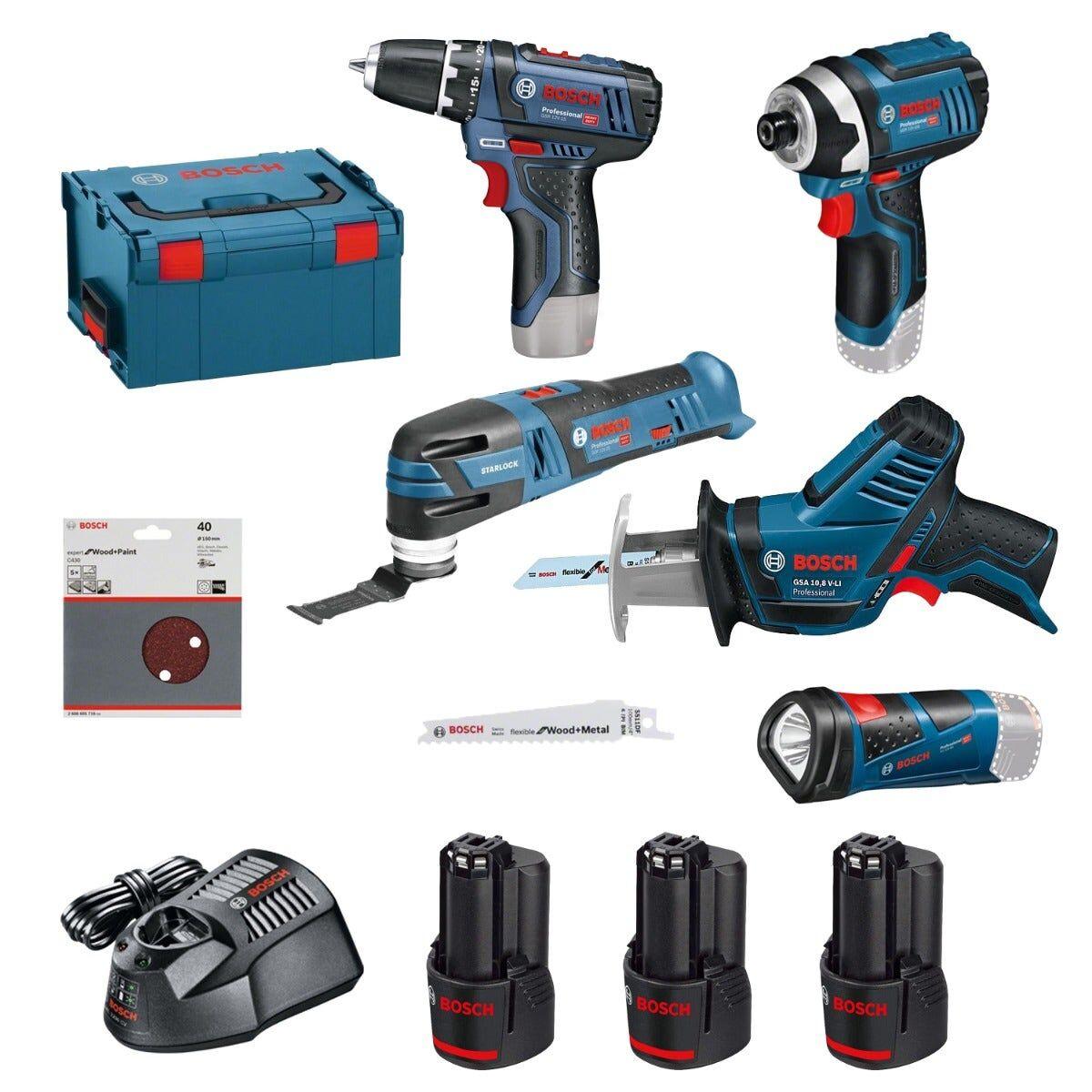 Bosch Kit 5 outils 12V : Visseuse à chocs Gdr12V-105 + Découpeur-ponceur Gop12V-28 + Perceuse-visseuse Gsr12V-15 + Scie sabre Gsa12V-14 + Lampe Gli12V-80 + chargeur rapide + 3 batteries 12V 2Ah + 5 feuilles abrasives + 2 lames de scie + coffret L-Boxx