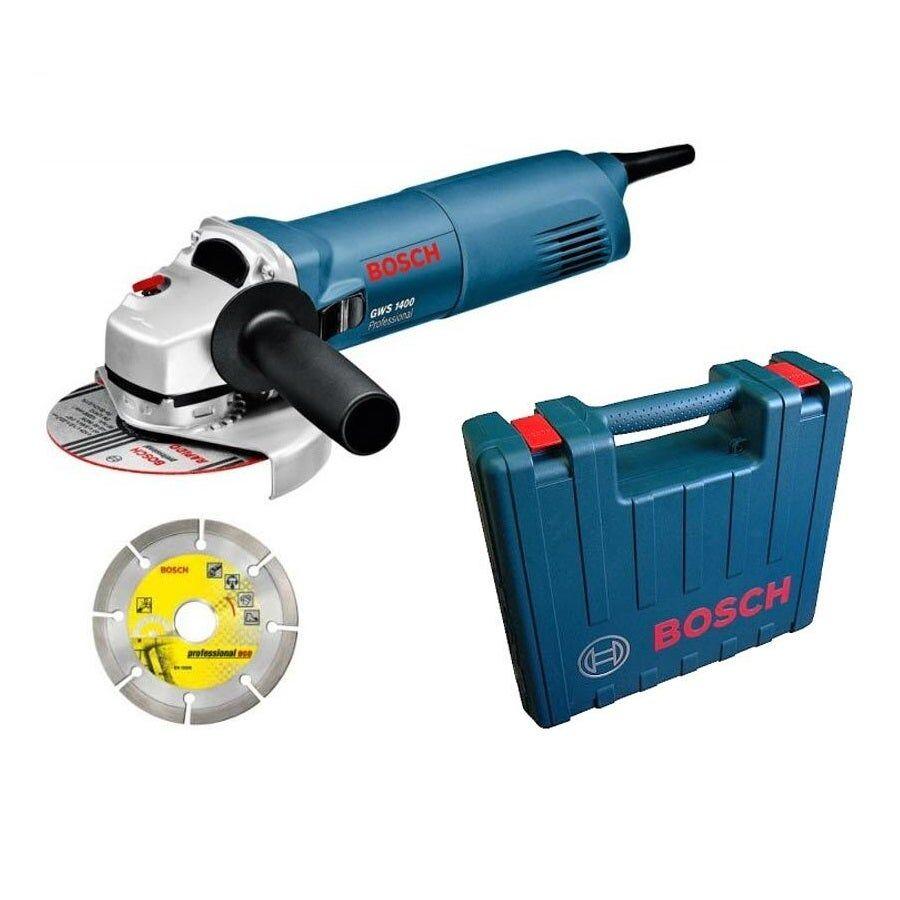 Bosch Meuleuse angulaire filaire GWS 1400 + 4 accessoires + 1 disque diamant + 1 coffret