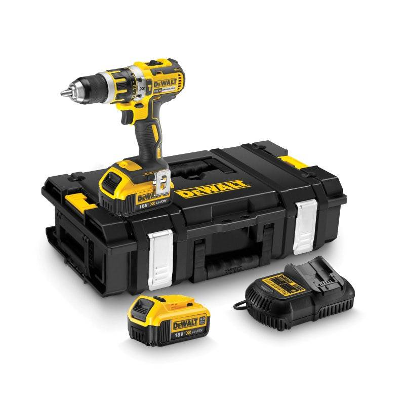 Dewalt Perceuse visseuse percussion Compact 18V XR + 2 batteries 4Ah + chargeur + coffret