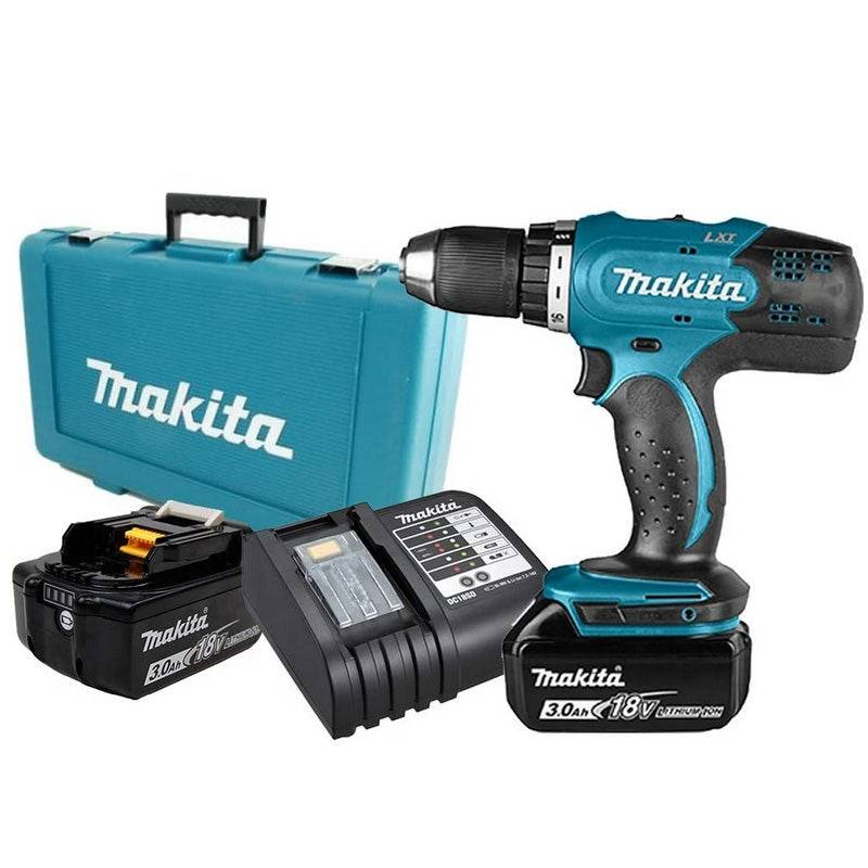 Makita Perceuse-visseuse 18V 13mm + 2 batteries Li-Ion 3Ah + chargeur + coffret
