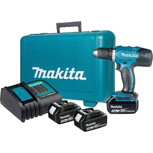 Makita Perceuse visseuse 18V Ø13 mm + 3 batteries Li-Ion 3 Ah + chargeur + coffret