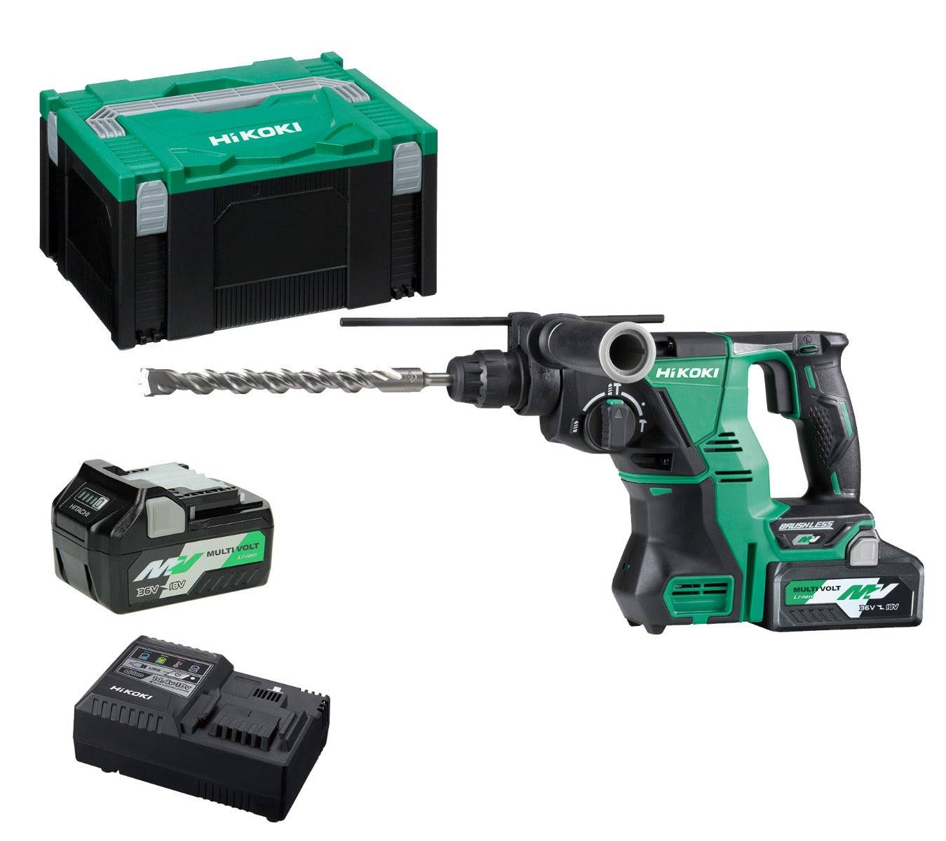 Hikoki Perforateur-burineur 28 mm Sds+ 36V + 2 batteries Li-Ion 4Ah + chargeur multi-Volt