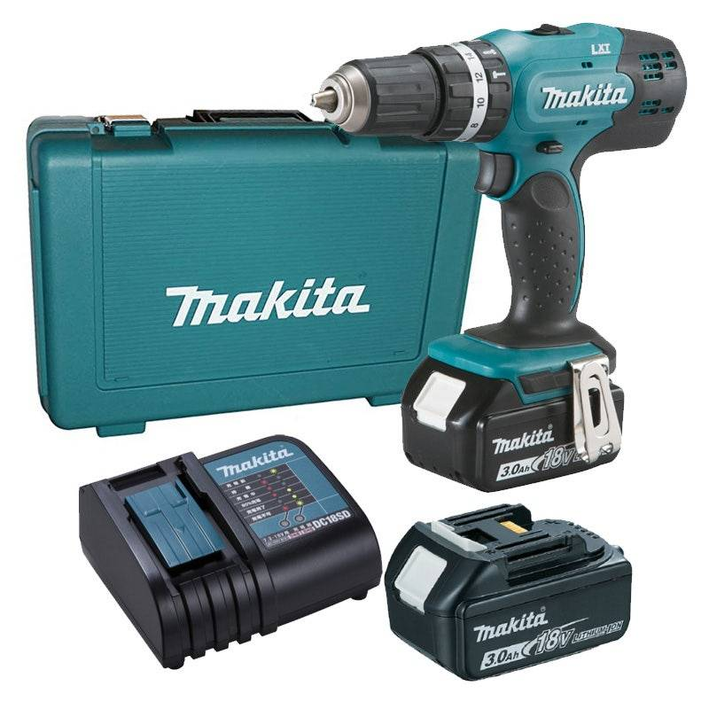 Makita Perceuse visseuse à percussion 18V Ø 13 mm + 2 batteries Li-Ion 3 Ah + 1 chargeur + coffret