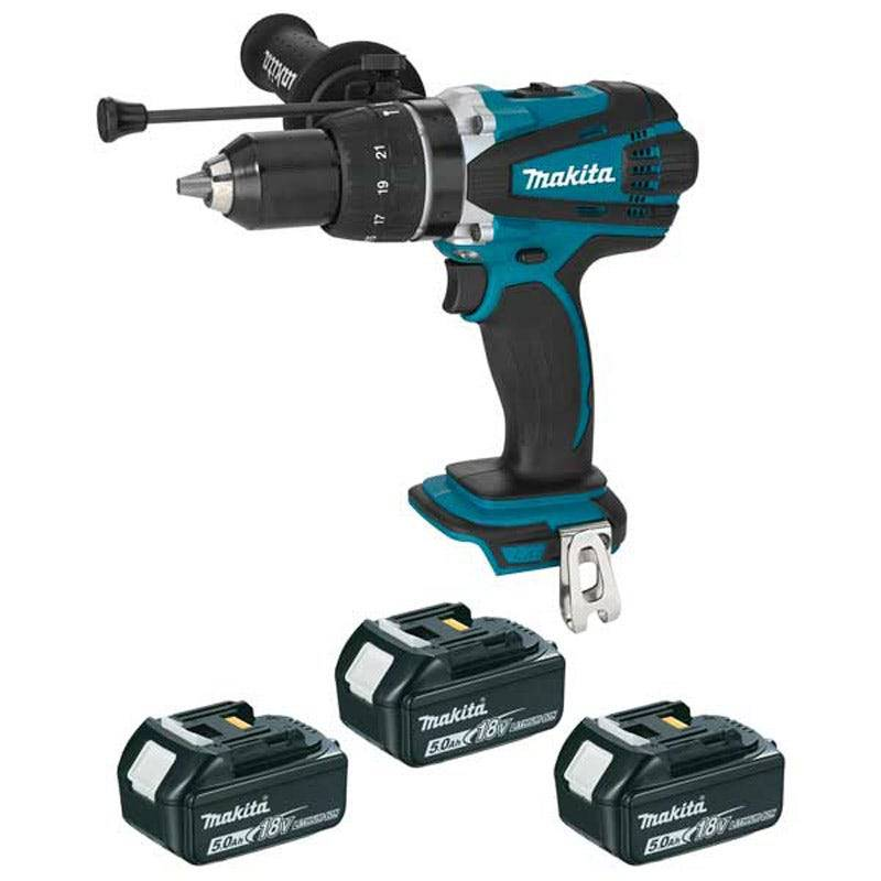 Makita Perceuse visseuse à percussion 18 V Li-ion 5 ah D13 mm (3 batteries) Makita DHP458RT3J
