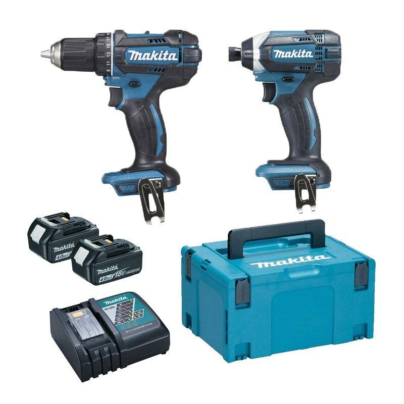 Makita Kit 2 outils : Perceuse-visseuse Ddf482 + Visseuse à chocs Dtd152 + 3 batteries Li-Ion 18V 3Ah + chargeur rapide Dc18Rc + coffret