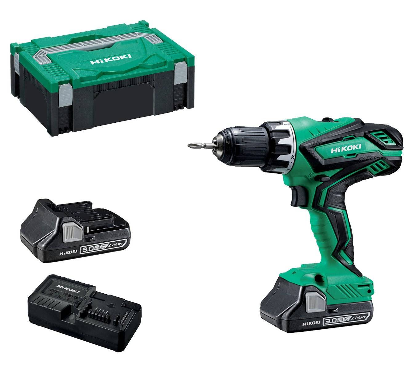 Hikoki Perceuse-visseuse sans fil 18V Ø13mm + 2 batteries Li-Ion 3Ah + chargeur + coffret Hit Case