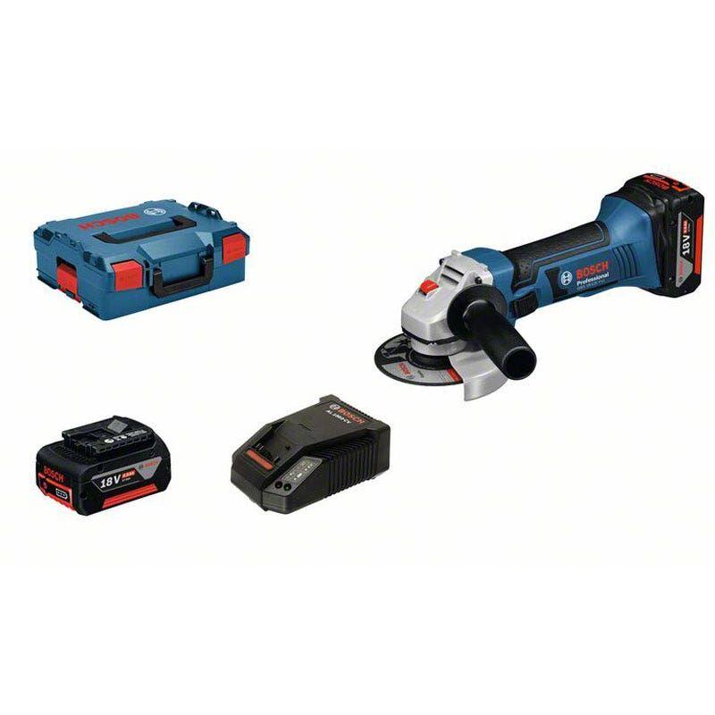 Bosch Meuleuse angulaire sans fil GWS 18-125 V-Li + 2 batteries 4Ah + chargeur rapide + accessoires + L-Boxx