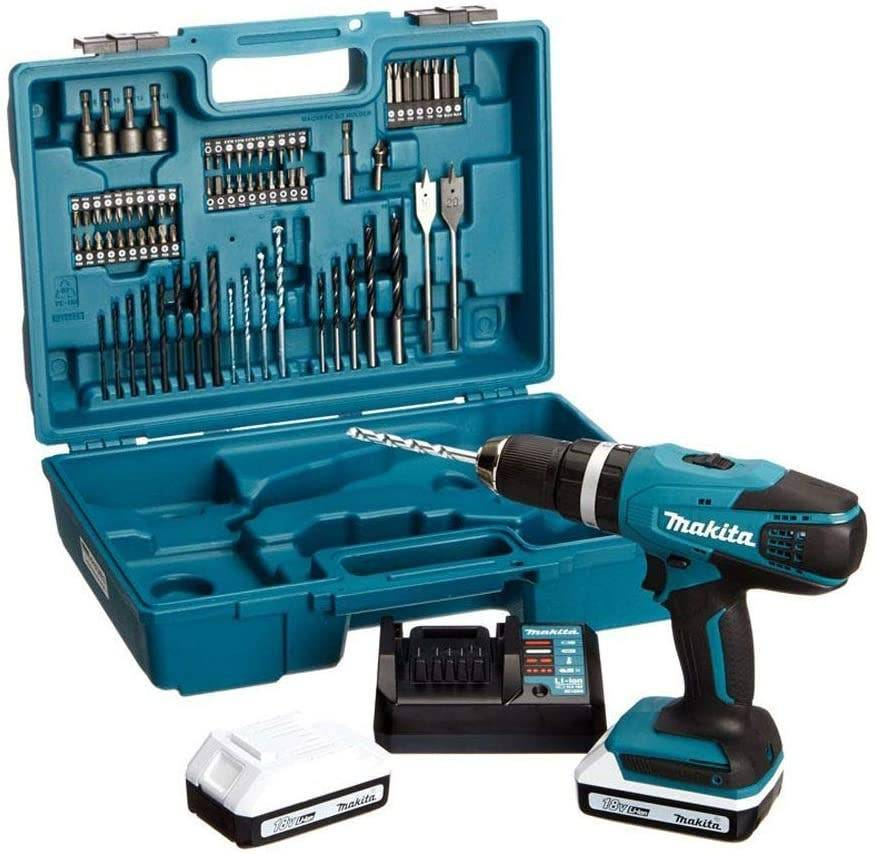 Makita Perceuse visseuse à percussion 18V + 2 batteries Li-Ion 1,5 Ah + kit d'accessoires