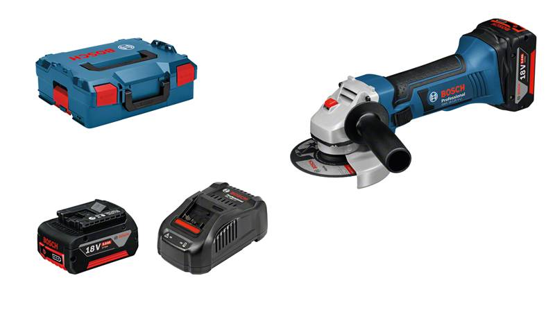 Bosch Meuleuse angulaire sans fil GWS 18-125 V-Li + 2 batteries 18V 5.0Ah + chargeur rapide + accessoires + L-Boxx -