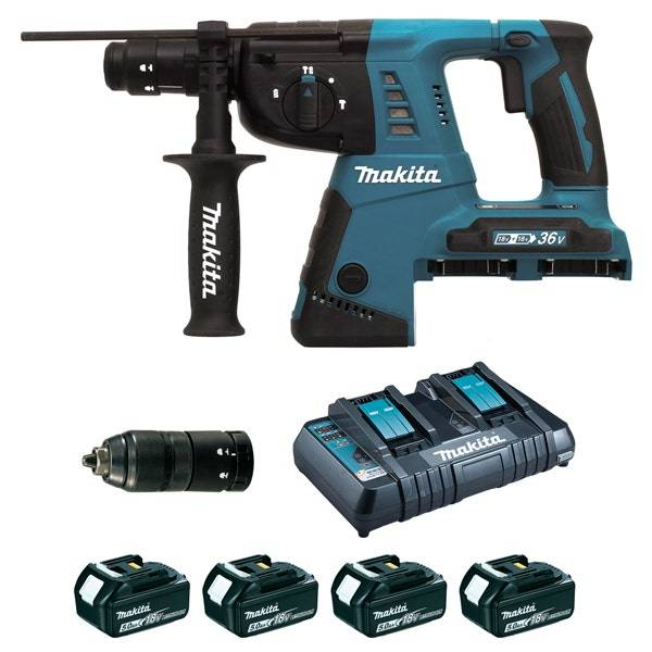 Makita Perfo-burineur SDS-Plus 36 V 2 x 18 V Li-Ion 5 Ah 26 mm (4 batteries)