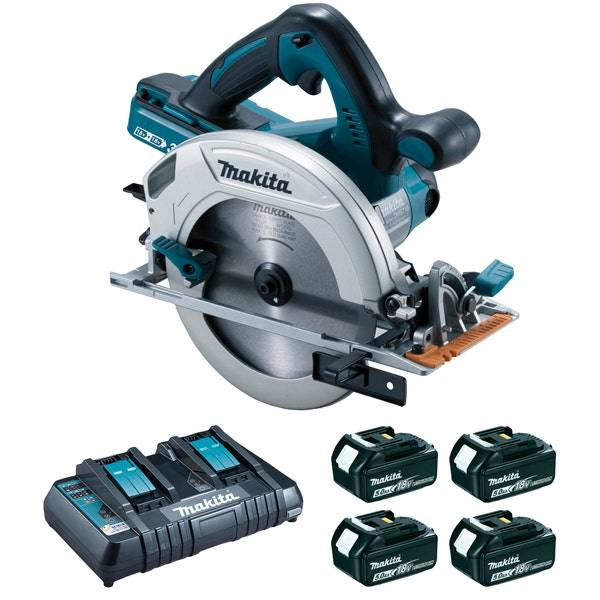 Makita Scie circulaire 36 V 2 x 18 V Li-Ion 5 Ah Ø 190 mm (4 batteries)