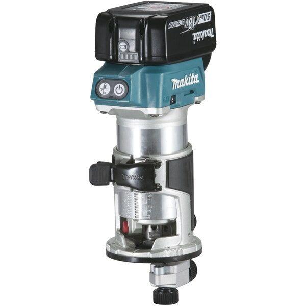 Makita Affleureuse 18 V 5 Ah 8 mm ( kit d'accessoires)
