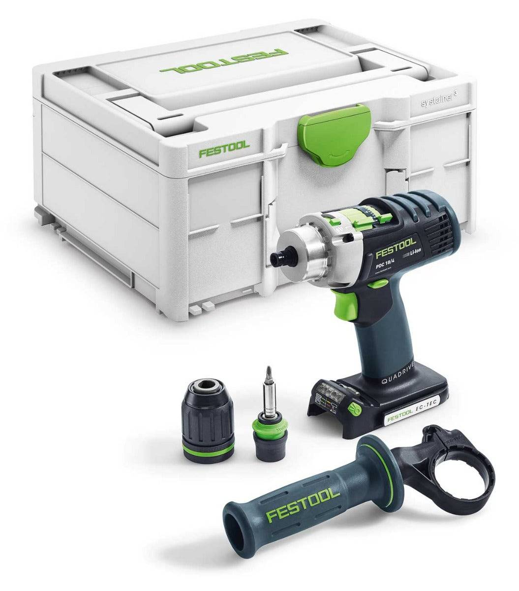 Festool Perceuse-visseuse à percussion sans fil Quadrive PDC 18/4 Basic (sans batterie ni chargeur) + systainer