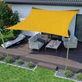 Jarolift Voile d'ombrage carrée, imperméable, jaune, 500x500 cm