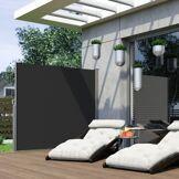 Paramondo Paravent Extérieur Rétractable, Prêt-à-poser, Noir, 160 x 300 cm