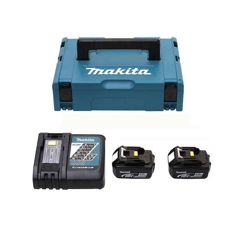 MAKITA Pack 2 batteries 18V 4Ah + chargeur DC18RC - 196866-5