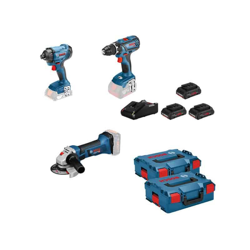 Bosch kit 3 outils 18v (gsr+gdr+gws) - kit3out18v5 - 0615990l56