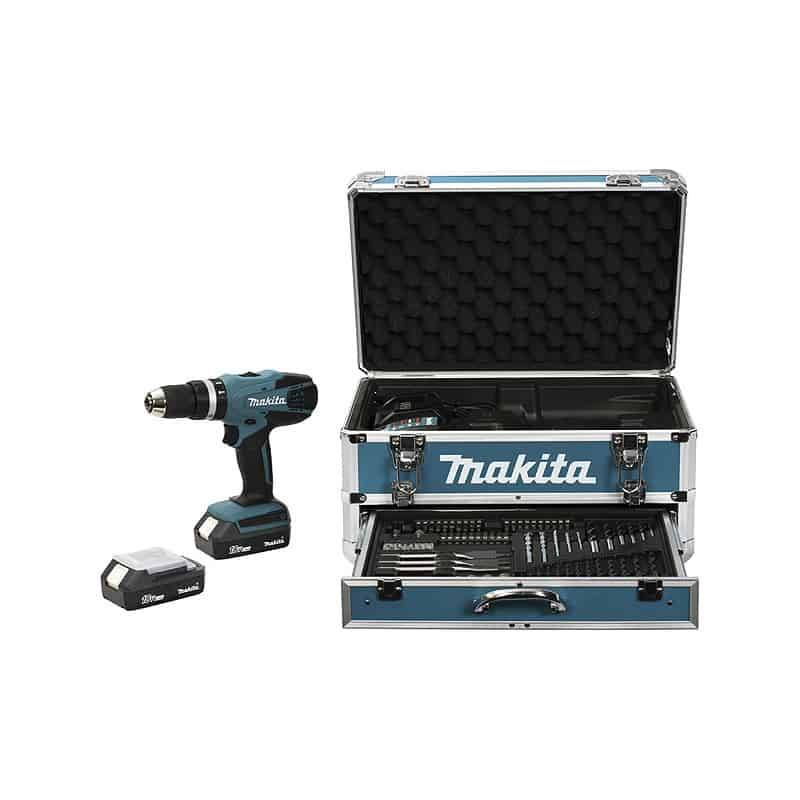 MAKITA Perceuse visseuse percu 18V 1.3Ah + 68 acces. - HP457DWEX4