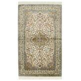 Nain Trading Tapis D'orient Cachemire Pure Soie 160x97 Gris/Beige (Inde, Soie, Noué à la main)