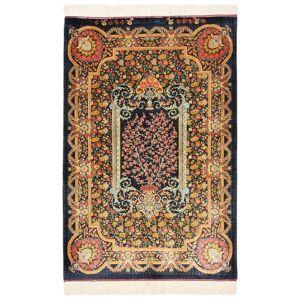 Nain Trading Tapis D'orient Ghom Soie 119x78 Gris Foncé/Bleu Foncé (Soie, Perse/Iran, Noué à la main)