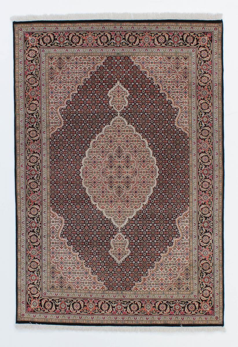 Nain Trading Tapis D'orient Indo Tabriz Royal 205x141 Gris Foncé/Marron Foncé (Inde, Laine, Noué à la main)