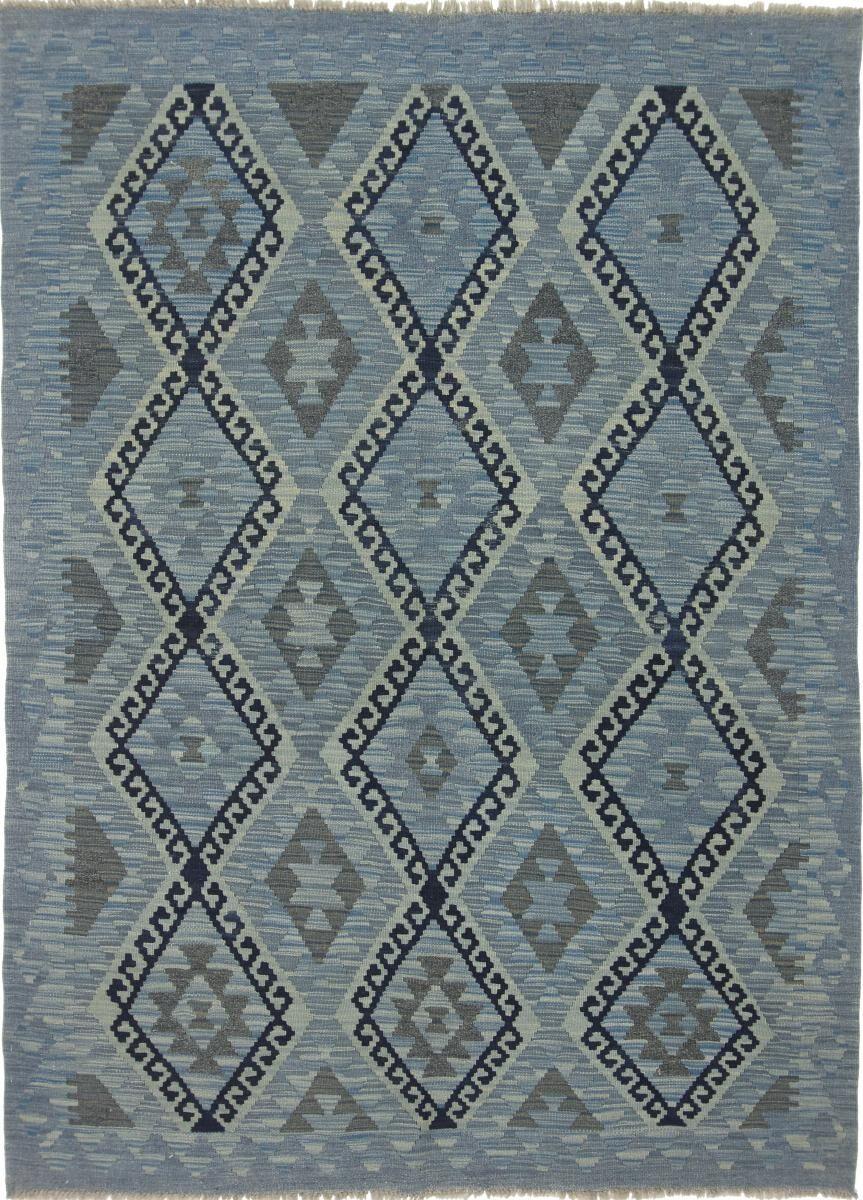 Nain Trading Tapis D'orient Kilim Afghan Heritage 206x149 Gris Foncé/Bleu Clair (Afghanistan, Laine, Tissé à la main)