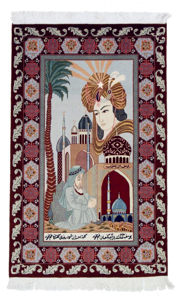 Nain Trading Tapis D'orient Tabriz 50Raj 151x101 Marron Foncé/Bleu Clair (Perse/Iran, Laine/Soie, Noué à la main)