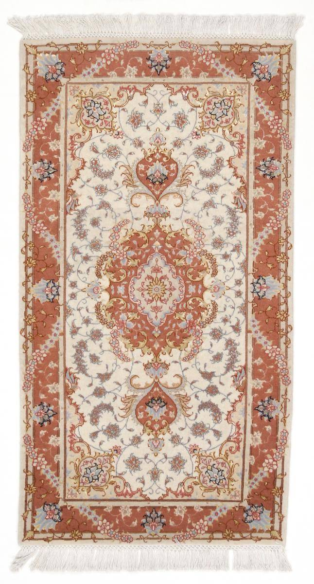 Nain Trading Tapis D'orient Tabriz 50Raj 144x76 Coureur Beige/Rose (Laine/Soie, Perse/Iran, Noué à la main)