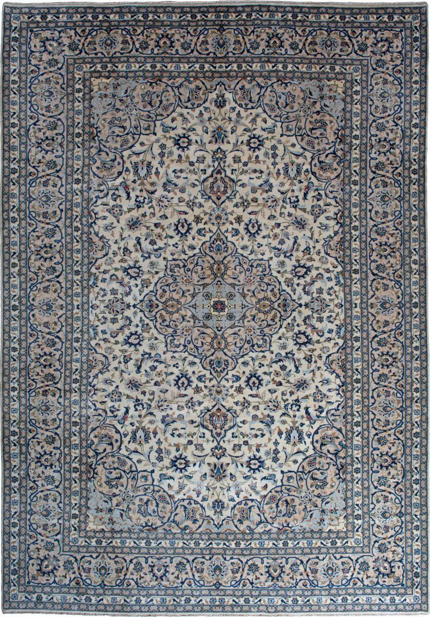 Nain Trading Tapis Persan Kashan 355x246 Kashan Gris Foncé/Bleu Clair (Noué à la main, Perse/Iran, Laine)