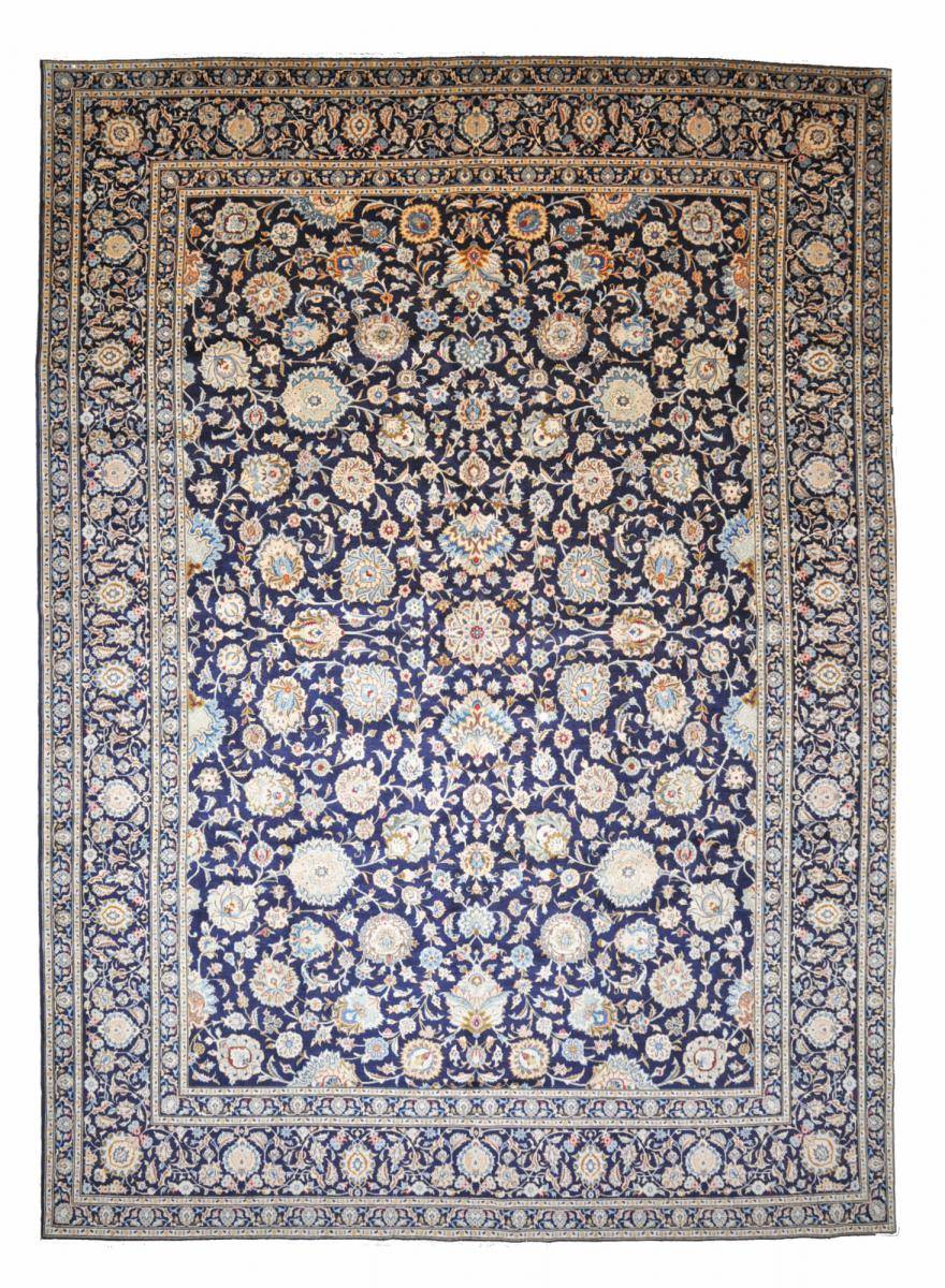 Nain Trading Tapis Kashan 444x326 Gris Foncé/Marron Foncé (Laine, Perse/Iran, Noué à la main)