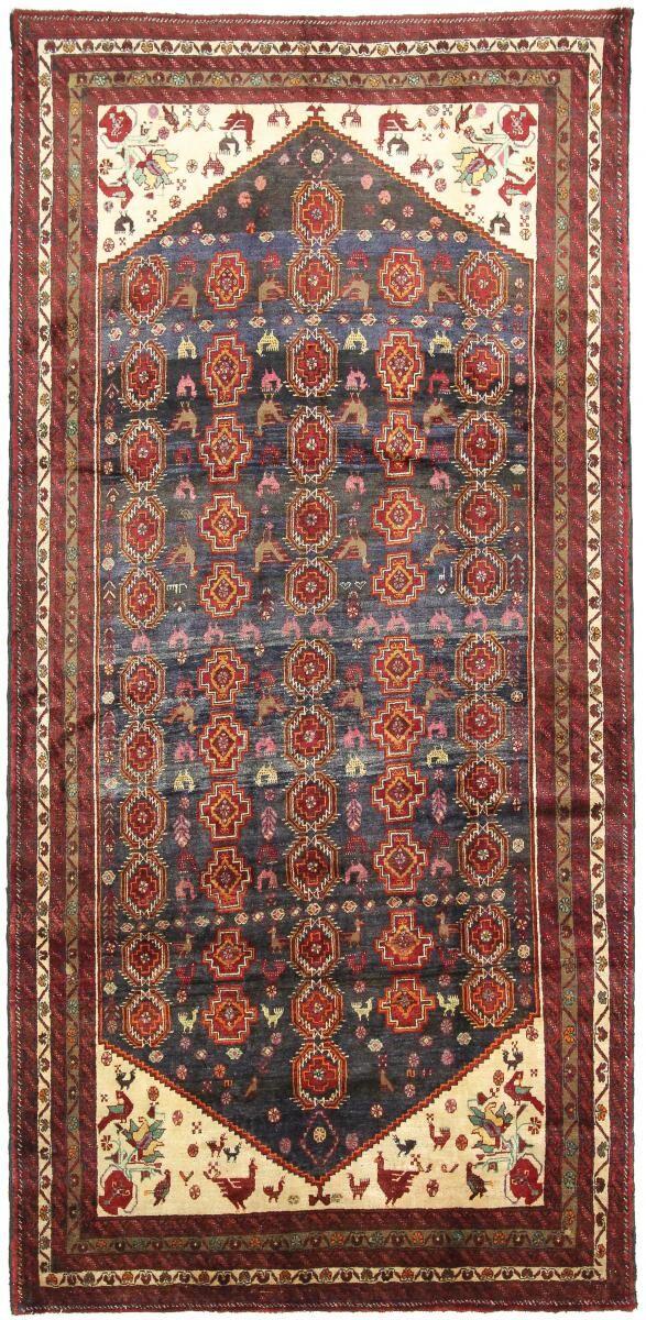 Nain Trading Tapis D'orient Shiraz Ancien 341x163 Gris Foncé/Rouge (Perse/Iran, Laine, Noué à la main)
