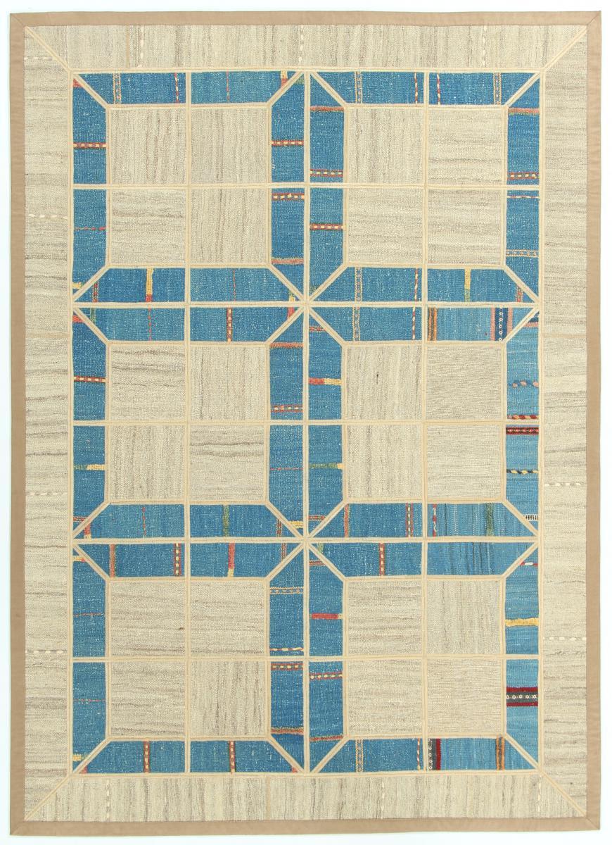 Nain Trading Tapis Persan Kilim Patchwork 209x150 Kilim Patchwork Gris/Bleu Clair (Tissé à la main, Perse/Iran, Laine)