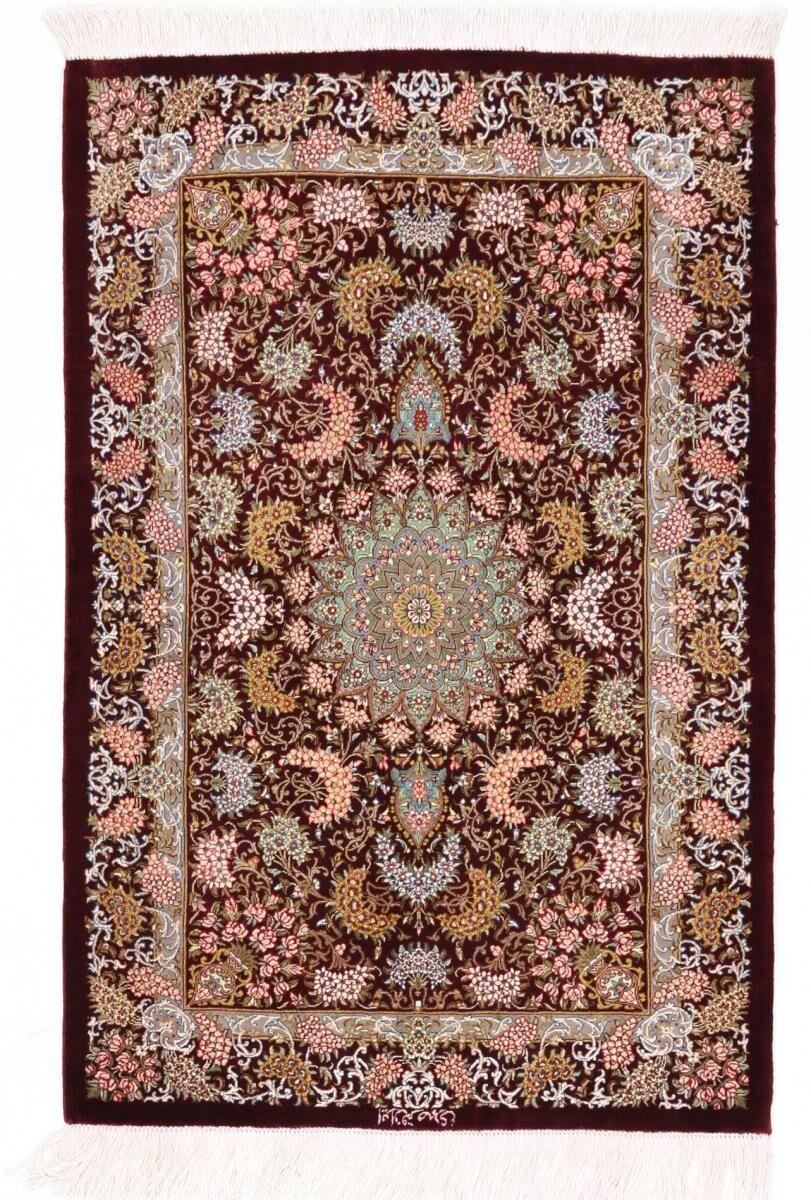 Nain Trading Tapis Ghom Soie 83x64 Marron/Rouille (Soie, Perse/Iran, Noué à la main)