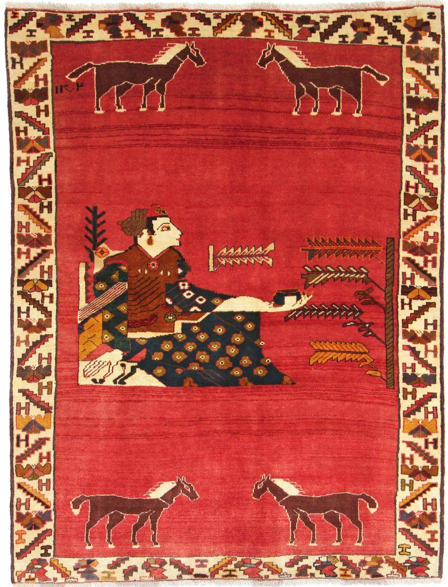 Nain Trading Tapis Ghashghai 197x142 Moderne/Design Rouge/Rose (Noué à la main, Laine, Perse/Iran)