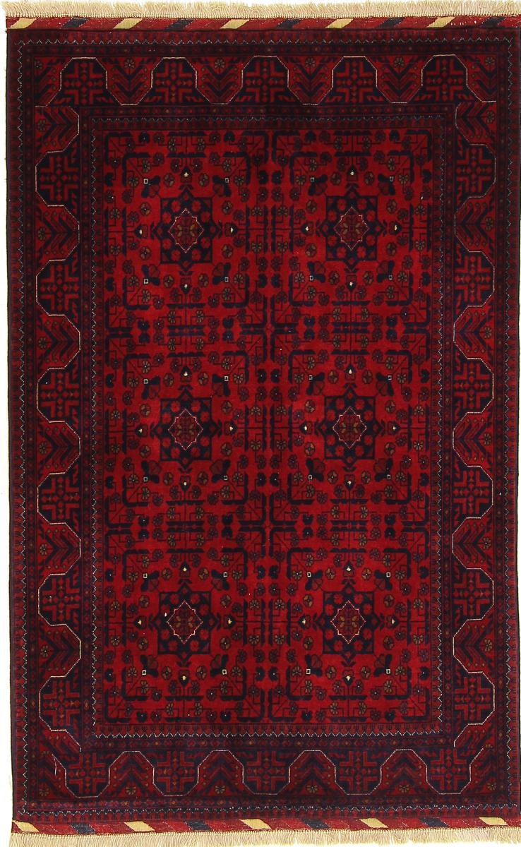 Nain Trading Tapis Khal Mohammadi Belgique 158x102 Gris Foncé/Rouge Foncé (Laine, Afghanistan, Noué à la main)