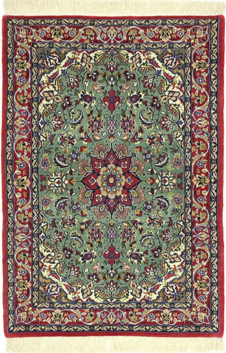 Nain Trading Tapis Persan Ispahan Chaîne de Soie 102x72 Ispahan Chaîne de Soie Marron Foncé/Bleu Clair (Noué à la main, Perse/Iran, Laine/Soie)