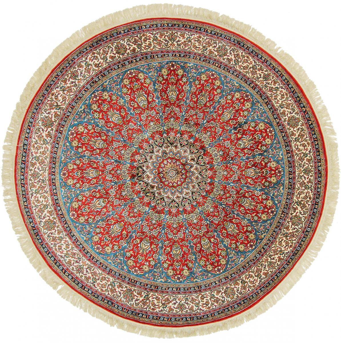 Nain Trading Tapis D'orient Cachemire Pure Soie 181x181 Ronde Beige/Rose (Soie, Inde, Noué à la main)