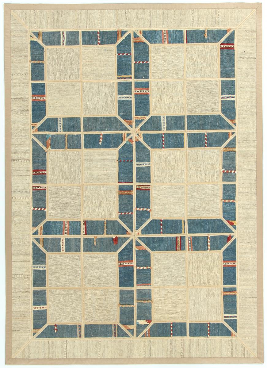 Nain Trading Tapis Persan Kilim Patchwork 207x149 Kilim Patchwork Gris/Bleu Clair (Tissé à la main, Perse/Iran, Laine)