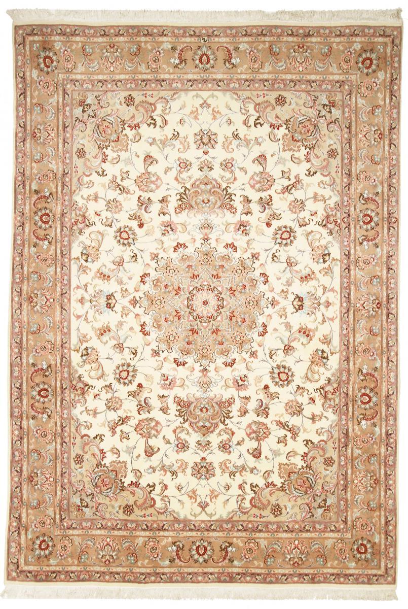 Nain Trading Tapis D'orient Tabriz 40Raj 353x246 Beige/Rose (Laine/Soie, Perse/Iran, Noué à la main)