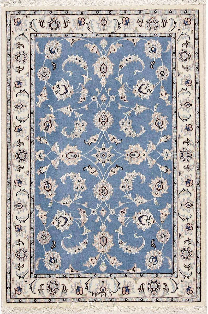 Nain Trading Tapis Naïn 9La Signé 119x79 Beige/Bleu Clair (Laine/Soie, Perse/Iran, Noué à la main)