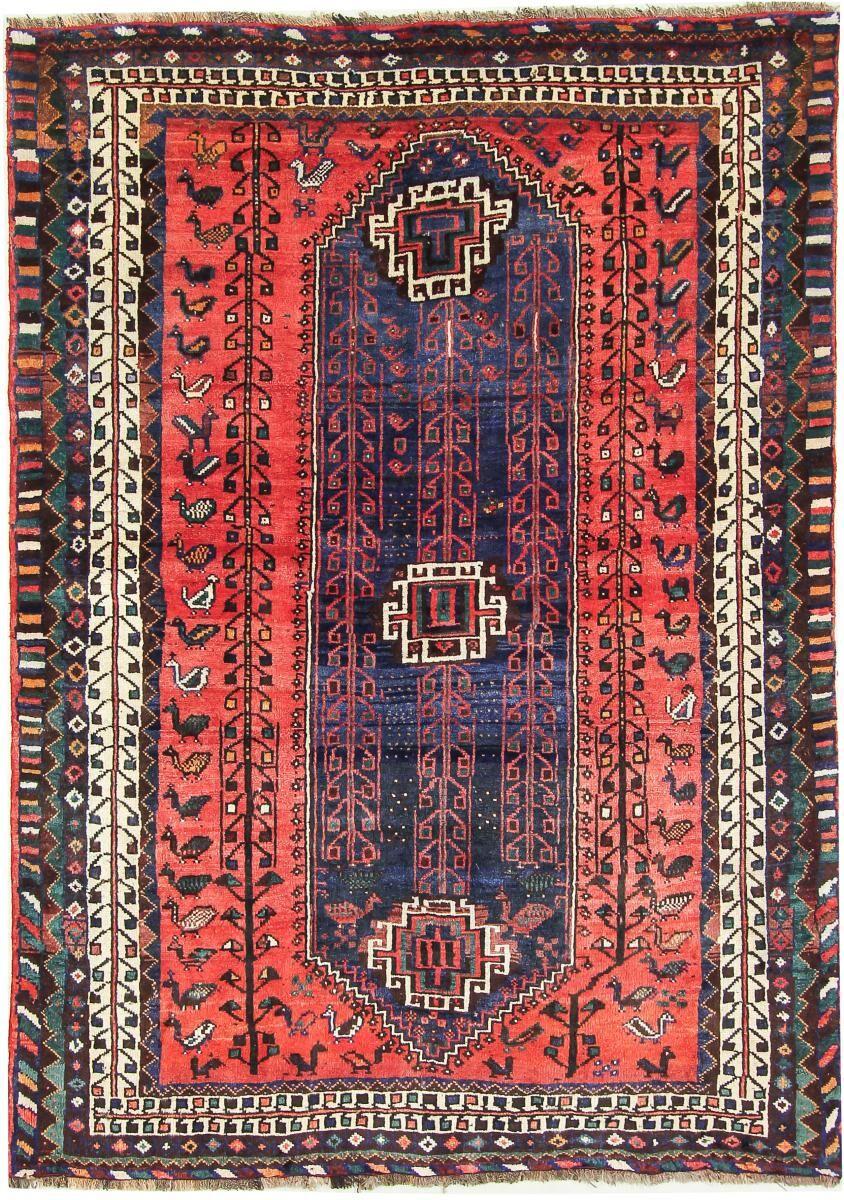 Nain Trading Tapis Persan Shiraz 214x154 Shiraz Gris Foncé/Marron Foncé (Noué à la main, Perse/Iran, Laine)
