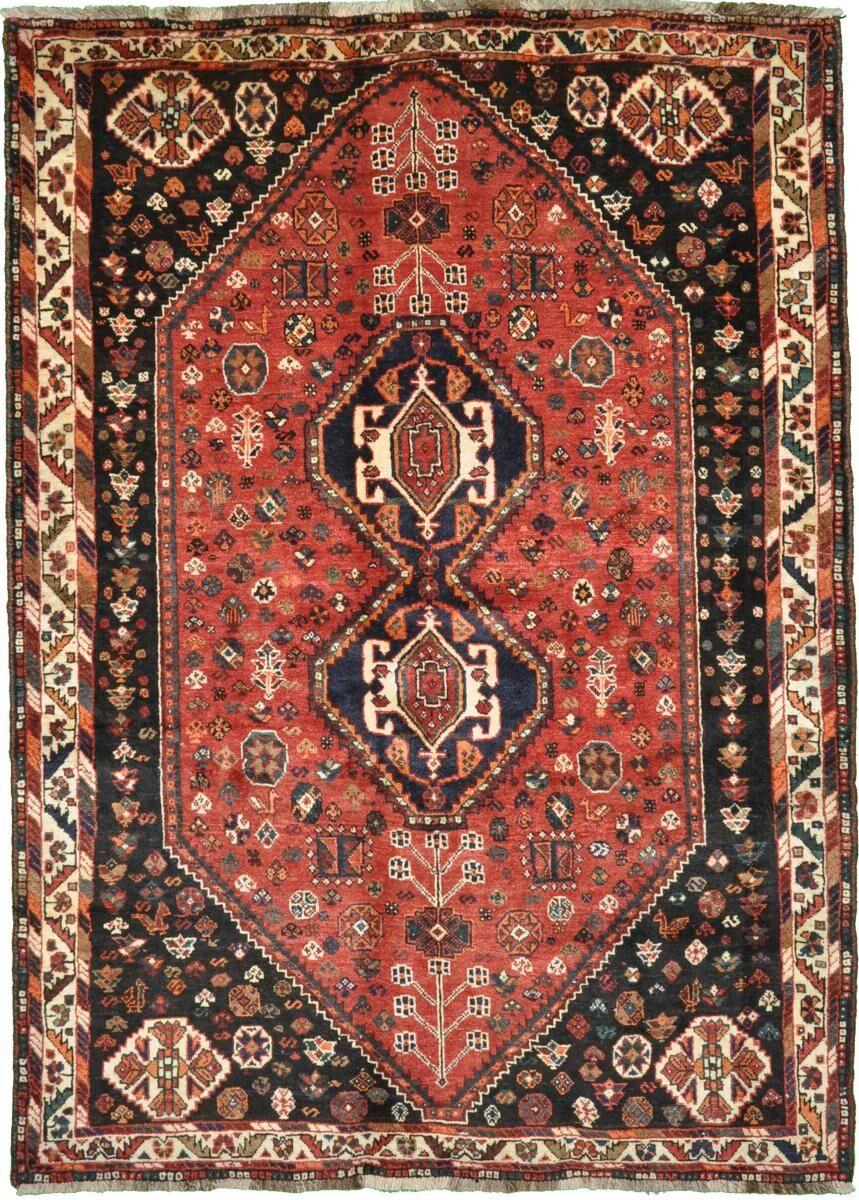 Nain Trading Tapis Persan Shiraz 213x154 Shiraz Gris Foncé/Beige (Noué à la main, Perse/Iran, Laine)