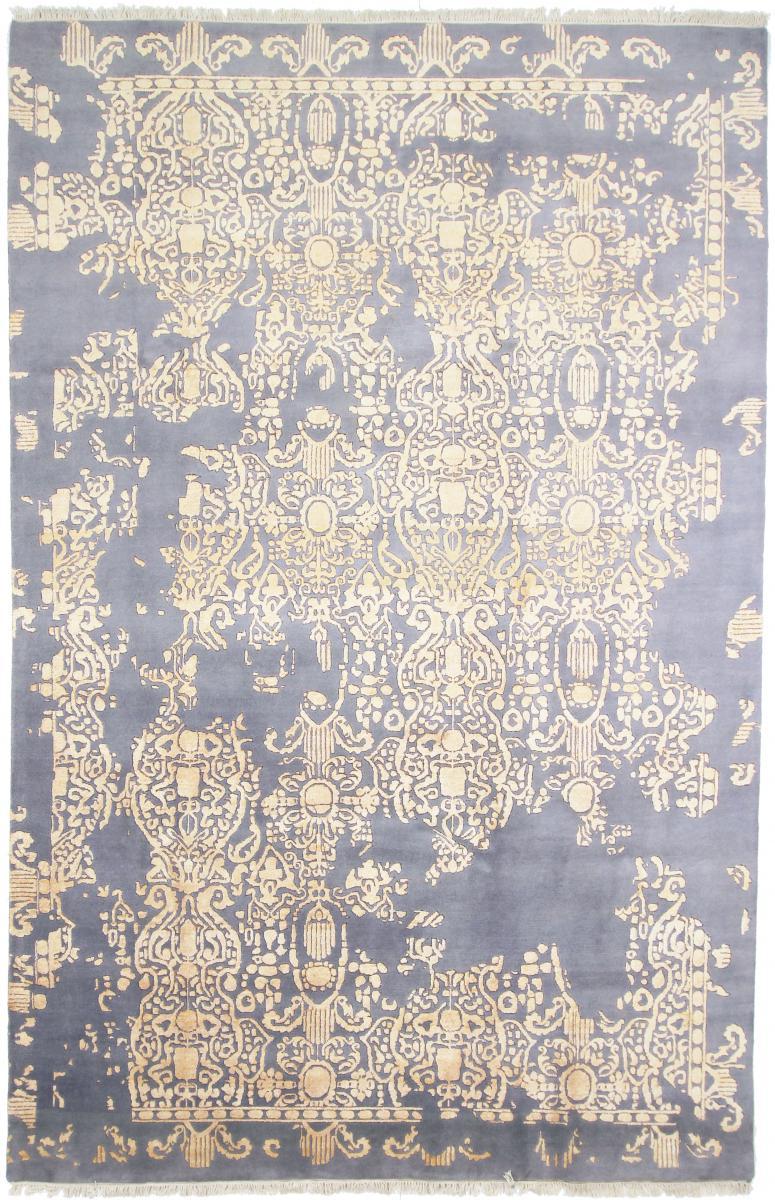 Nain Trading Tapis Sadraa 305x201 Moderne/Design Beige/Bleu Clair (Noué à la main, Laine/Soie, Inde)