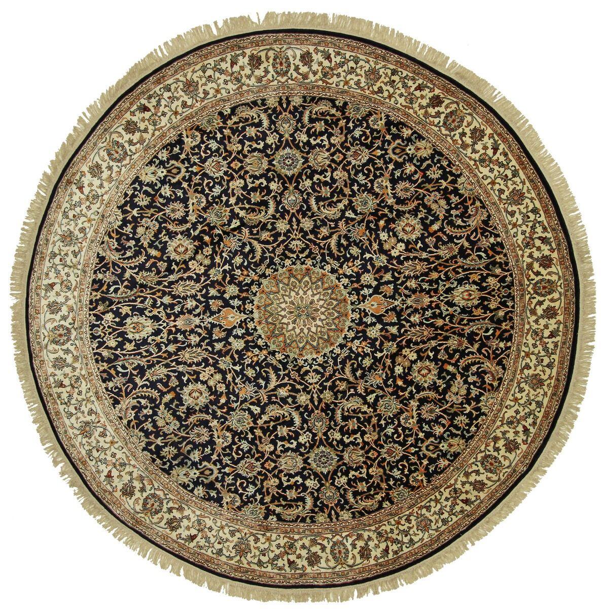 Nain Trading Tapis D'orient Cachemire Pure Soie 244x242 Ronde Gris Foncé/Marron Foncé (Noué à la main, Inde, Soie)