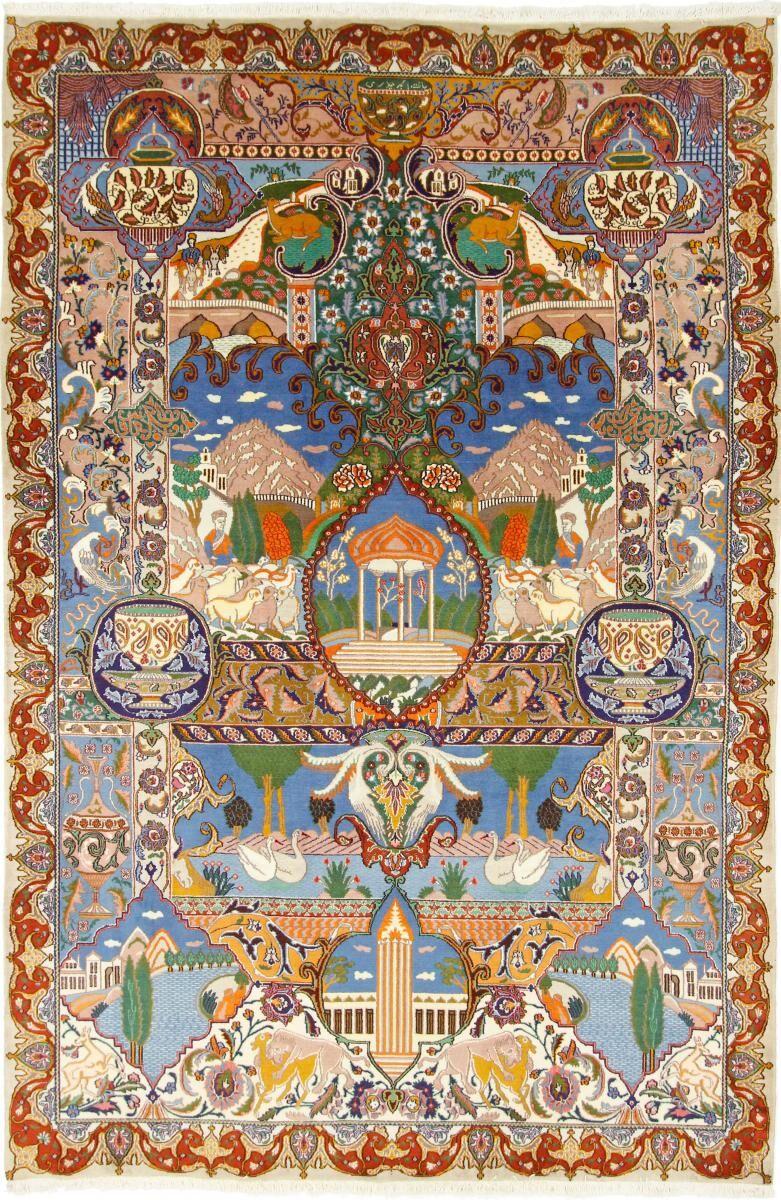 Nain Trading Tapis Persan Kaschmar 303x202 Kaschmar Gris Foncé/Bleu Clair (Noué à la main, Perse/Iran, Laine/Soie)