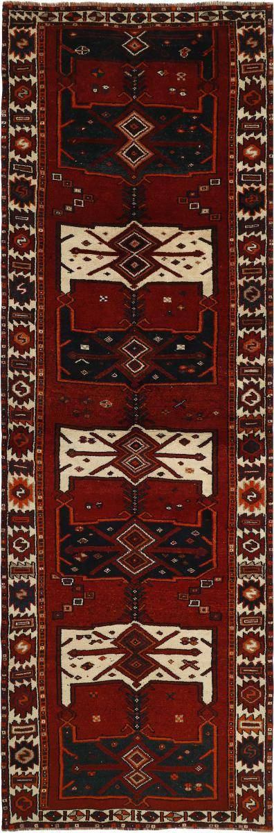 Nain Trading Tapis D'orient Shiraz 419x135 Coureur Gris Foncé/Marron Foncé (Laine, Perse/Iran, Noué à la main)