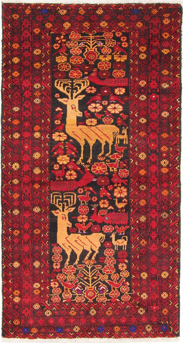 Nain Trading Tapis Shiraz 153x82 Coureur Gris Foncé/Marron (Laine, Perse/Iran, Noué à la main)