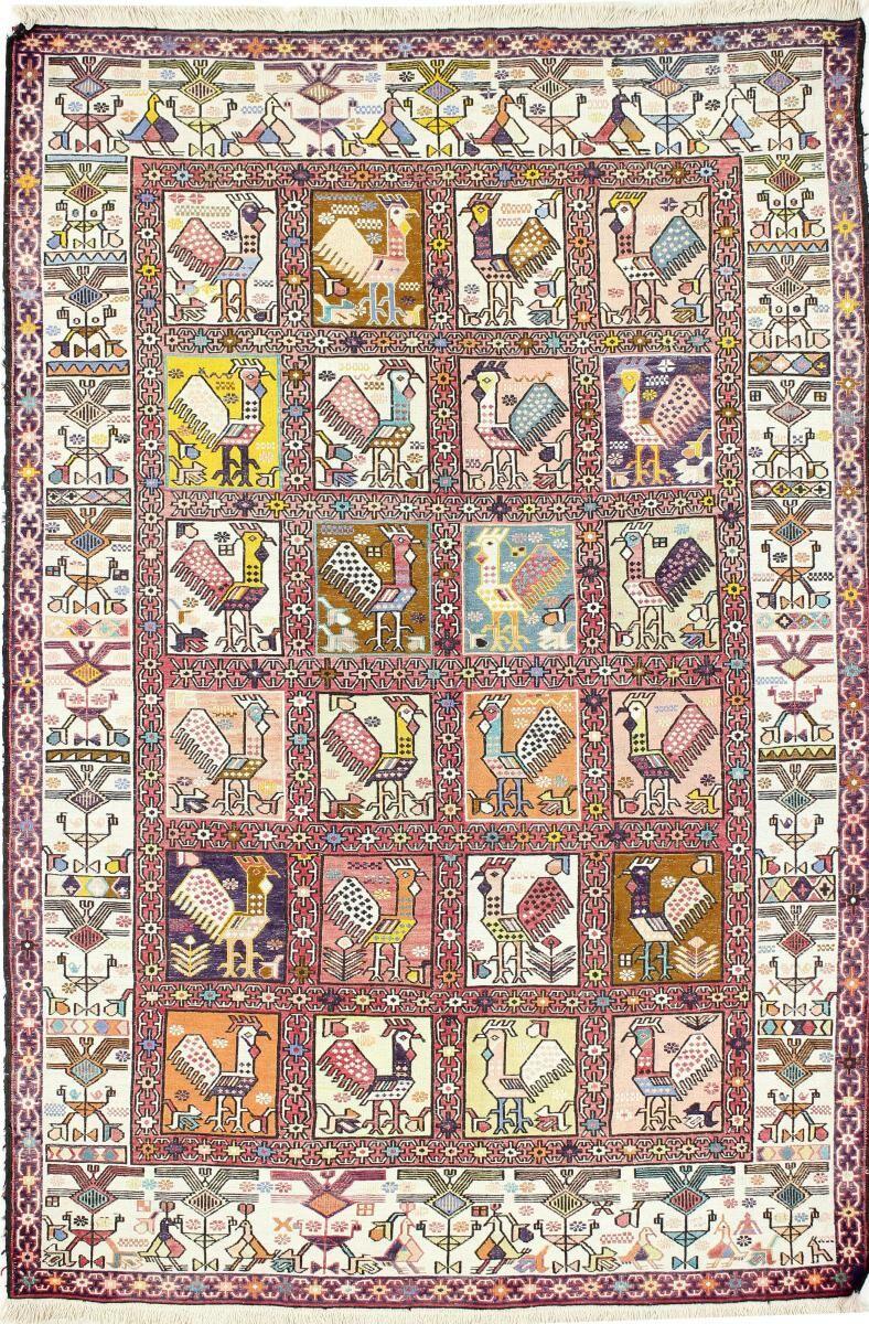Nain Trading Tapis D'orient Kilim Fars Verni Soie 181x123 Beige/Marron Foncé (Laine, Perse/Iran, Tissé à la main)
