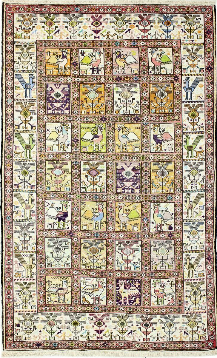 Nain Trading Tapis D'orient Kilim Fars Verni Soie 198x121 Beige/Marron Foncé (Laine, Perse/Iran, Tissé à la main)